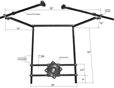Rowing frame dimensions